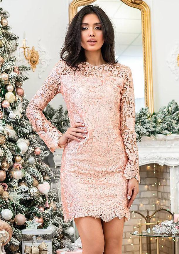37cae890347 Кружевное платье с пайетками розового цвета. Модель 20353. Размеры 42-46 -  Irse