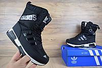 Женские Сапоги Adidas черные, с мехом (Топ Реплика)
