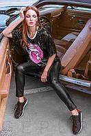 Трендовые кожаные леггинсы Gepur 28596