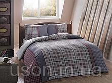 Комплект постельного белья из фланели евро размер ТМ Tac Gray mavi