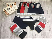 Женский комплект нижнего белья Calvin Klein - тройка - топ+стринги+шорты отличного качества. Реплика