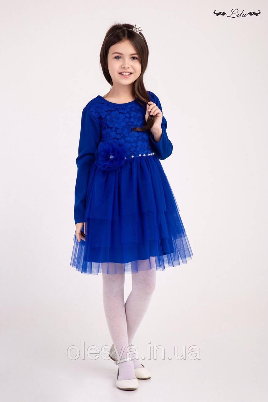 Платье гипюровое с фатиновой юбкой на девочек Размеры 128- 140