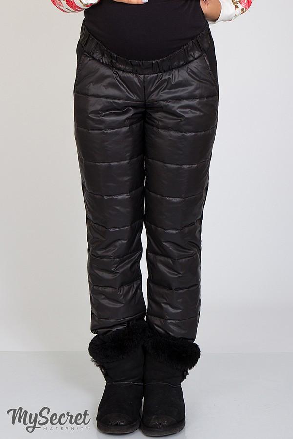 Зимние штаны стеганые плащевка на флисе и теплом трикотаже для беременных S m L XL