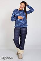 Зимние штаны стеганые плащевка на флисе и теплом трикотаже для беременных S m L XL, фото 3