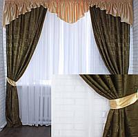 "Комплект ламбрекен с шторами ""Маргарита""на карниз 2,5-3м.Код 097лш223(золото)"