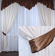 "Комплект ламбрекен с шторами ""Маргарита"" на карниз 2,5-3м.Код 097лш164(коричневый)"