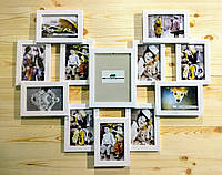 """Деревянная эко мультирамка, коллаж #812 """"сердце"""" белый, венге, орех, чёрный."""
