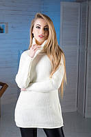Свитер вязаный женский белый с отворотом., фото 1