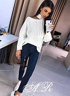 Женский стильный свитер с открытым плечом (расцветки)