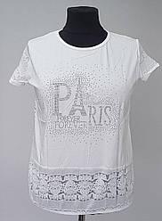 Белая женская футболка «Париж» большого размера