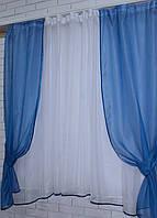 Комплект на кухню, тюль и шторки №51, Цвет синий с белым