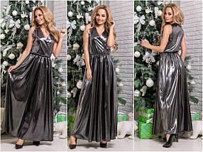 Женское вечернее платье на новый год Атлас Хамелеон / размер 42-44, 44-46 / цвет серебро