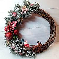 Новогодний венок с декором на дверь Ручная работа