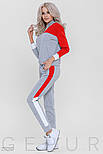 Женский утепленный спортивный костюм серо-красного цвета, фото 2