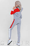 Женский утепленный спортивный костюм серо-красного цвета, фото 3