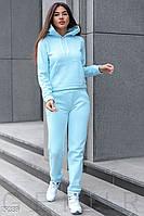 Теплый трикотажный спортивный костюм голубого цвета