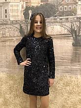 Детское платье с пайетками для девочки  р.34-42 синий
