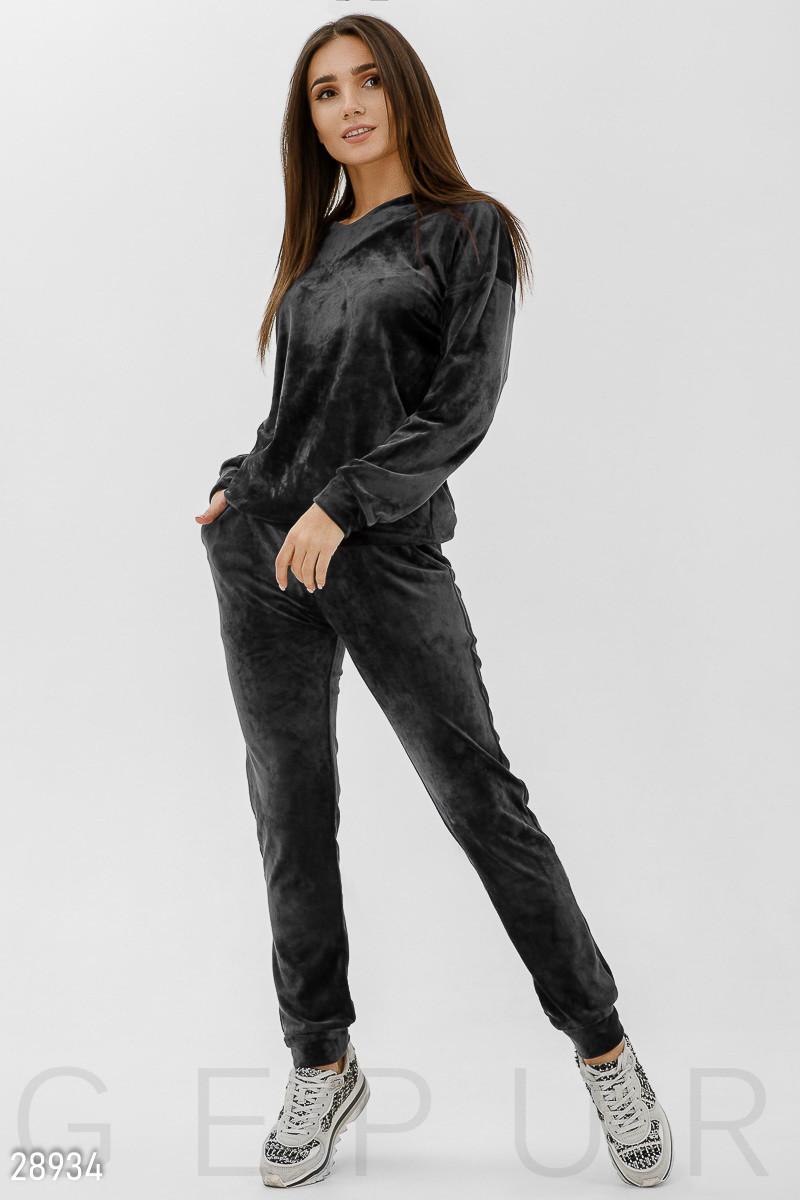 7a46967d4b00 Велюровый спортивный костюм черного цвета, цена 959 грн., купить в ...
