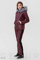 Теплый стеганый спортивный костюм цвета марсала