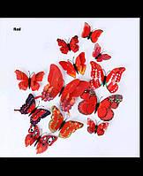 Виниловые 3d наклейки на стены бабочки Красные (07849834), фото 1