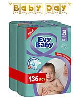 Подгузники Evy Baby Midi Jumbo 3 (5-9 кг) Mega Pack 136 шт.
