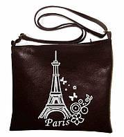 """Сумка - планшет с вышивкой """"Paris"""" С21 - черная"""