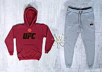 Зимний бордовый спортивный мужской костюм с капюшоном, костюм на флисе UFC, Реплика