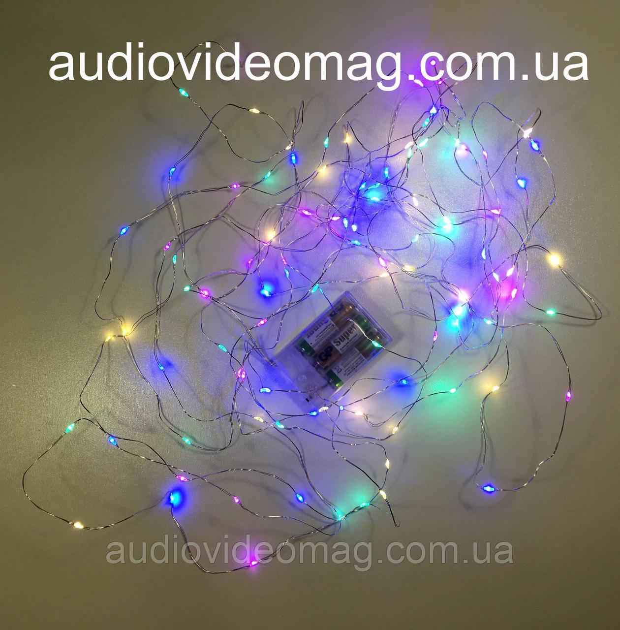 Гірлянда для декору на батарейках, 4 кольори, 5 метрів, 50 світлодіодів