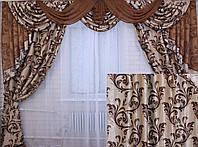 """Ламбрекен ручной выкладки из ткани """"Блэкаут"""" Код 069лш101"""