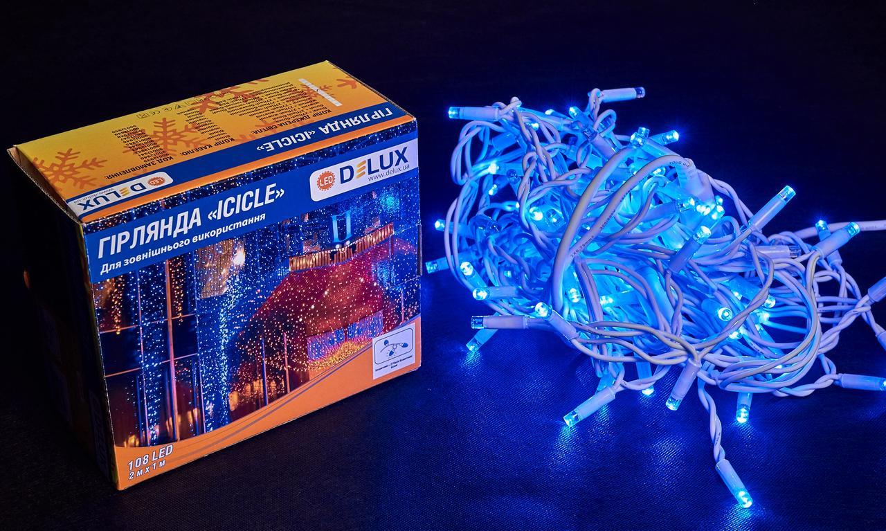 Гірлянда зовнішня DELUX ICICLE 108 LED бахрома 2x1m 27 flash синій/білий IP44 EN
