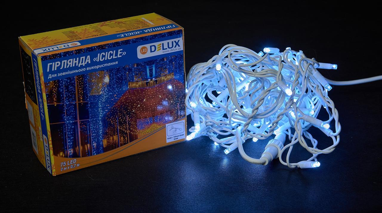 Гірлянда зовнішня DELUX ICICLE 75 LED бахрома 2x0.7m 18 flash білий/білий IP44 EN