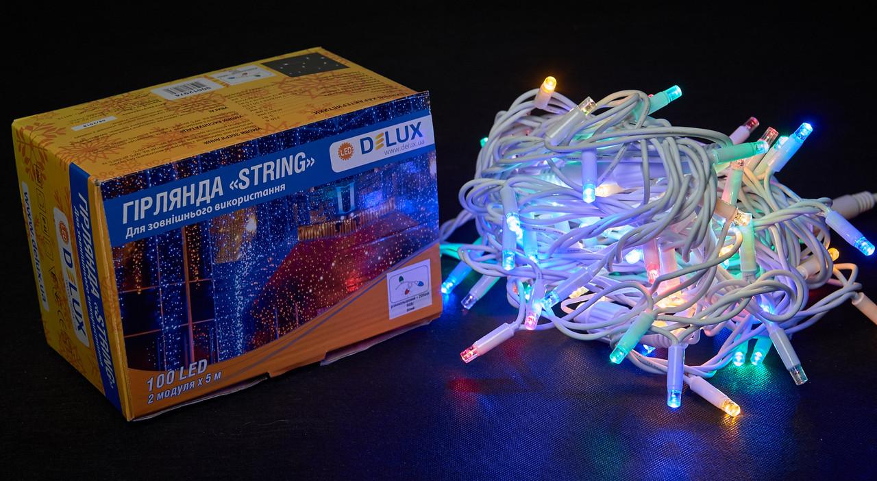Гірлянда зовнішня DELUX STRING 100 LED нитка 10m (2x5m) 20 flash мульти/білий IP44 EN