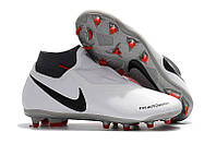 Футбольные бутсы Nike Phantom Vision Academy DF FG Pure Platinum/Black/Light Crimson/Dark Grey