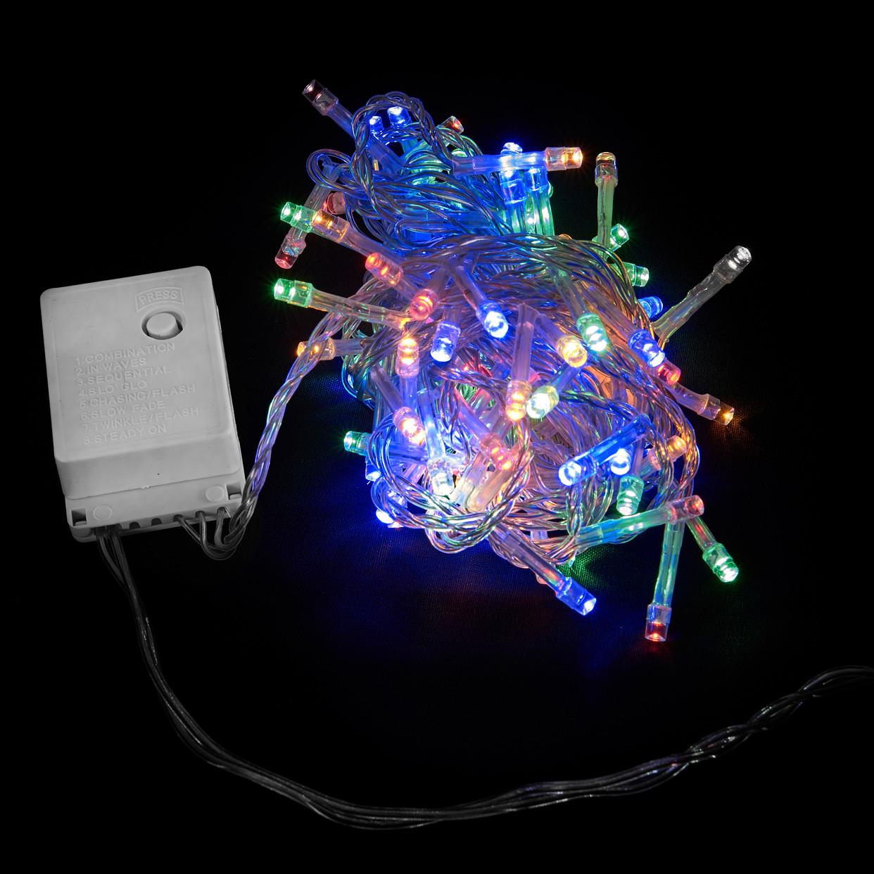 Гирлянда вннутренняя DELUX STRING С 100LED 5m мулт/прозр IP20
