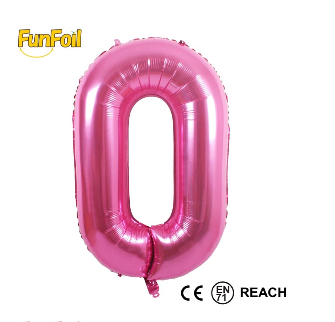 Фольгированная цифра 0 розовая б/рисунка,  80 см