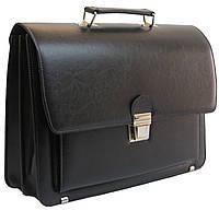 Вместительный деловой портфель из эко кожи AMO Польша SST09 черный, фото 1
