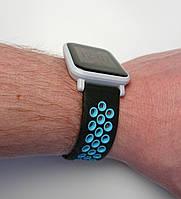 Ремешок силиконовый 20мм для smartwatch xiaomi amazfit BIP черно-голубой