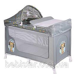 Кровать-манеж серый Lorelli SAN REMO 2 plus Grey cute kitten