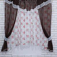 Комплект на кухню, тюль и шторки №58, Цвет венге