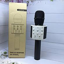 Караоке-мікрофон WS 858-1 Black - bluetooth колонка - 2in1.