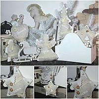 Льняная звездочка ручной работы, выс. 14 см., 75/65 (цена за 1 шт. + 10 гр.)