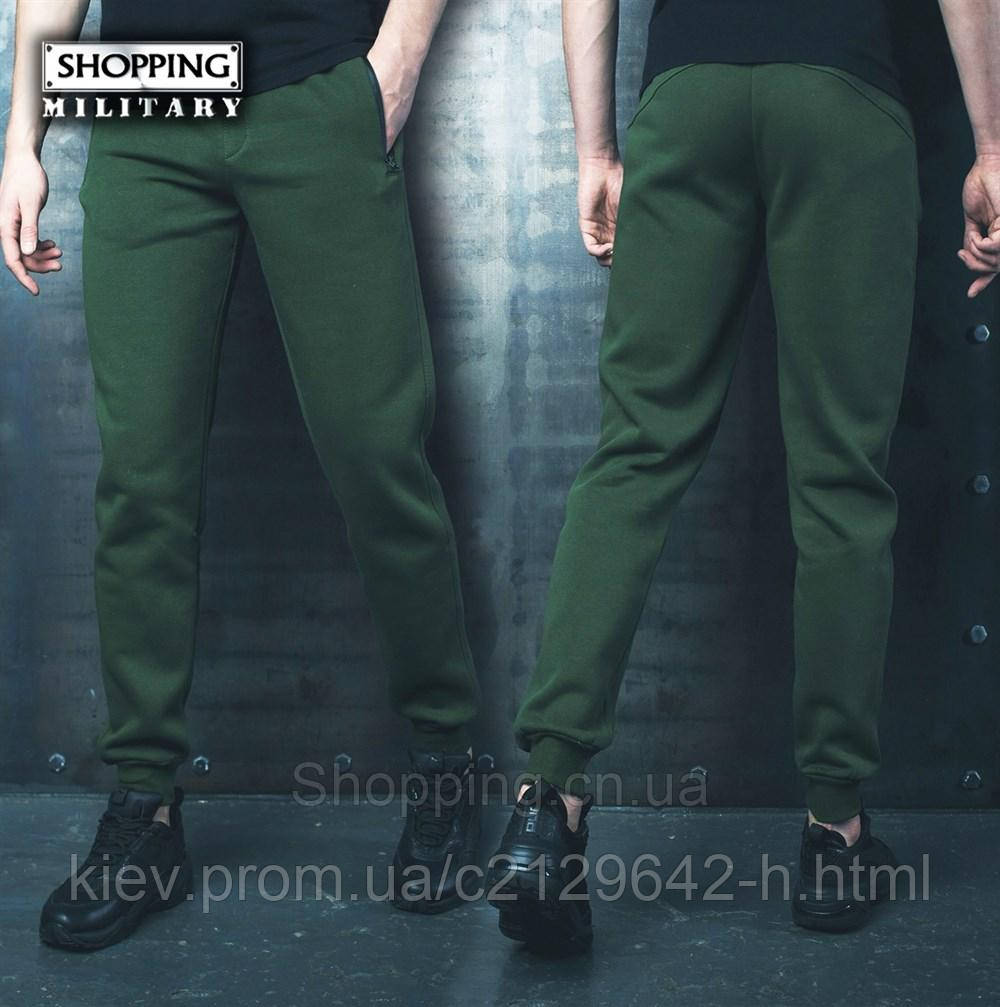 a1edf1c99b803 Теплые спортивные штаны мужские хаки на флисе Bezet Khaki 1.9 с резинкой  внизу