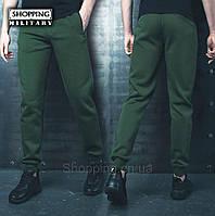 8ac258be Теплые спортивные штаны мужские хаки на флисе Bezet Khaki 1.9 с резинкой  внизу