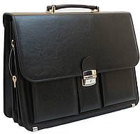 Качественный деловой портфель из эко кожи AMO Польша SST10 черный, фото 1