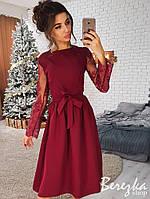 7da143c1229 Платье стильное нарядное миди с кружевными рукавами и пышной юбкой Smb2816