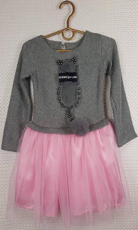 Детское нарядное платье для девочки Кошечка р.98-116 серый+розовый, фото 2