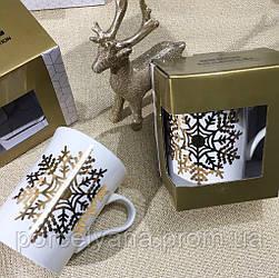 Фарфоровая чашка 300 мл Снежинка Christmas