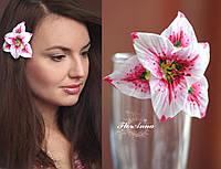 """Заколка цветок """"Розовая лилия"""", фото 1"""