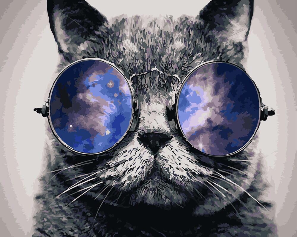 Картинка кота в круглых очках