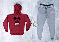 Зимний бордовый спортивный мужской костюм с капюшоном, костюм на флисе Supreme Mickey Mouse, Реплика